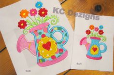 Spring Can With Flowers Applique