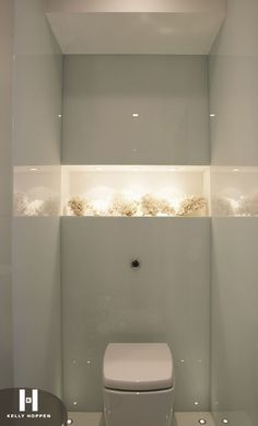 powder room/ cloakroom niche with display of white coral and wonderful lighting . Bathroom Niche, Bathroom Toilets, Ensuite Bathrooms, Bathroom Interior, Light Bathroom, Bathroom Lighting, Small Bathrooms, Bathroom Ideas, Bad Inspiration