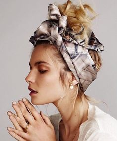 Springtime means scarves in your hair instead of wrapped around your shoulder  Source- Pinterest