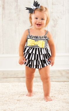 Striped Ruffle Spandex Swimsuit by Mud Pie