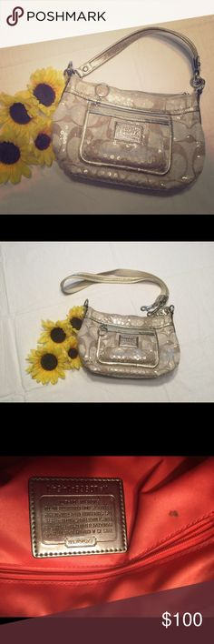 Authentic COACH poppy sequined bag Very cute authentic COACH poppy sequined bag with additional shoulder strap.  A couple of very small marks inside the bag shown in pics.  LOVE this bag but it's a bit too small for me. Coach Bags Shoulder Bags