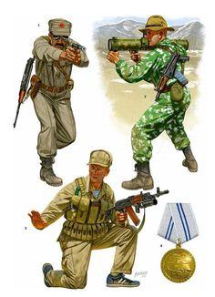 "Spetsnaz - Johnny Shumate Afghanistan (1) ""Moslem Battalion"" operator; Operation ""Storm-333,"" Kabul, 1979. (2) 411th Detachment operator, Panjshir Valley, 1985. (3) Sergeant, 173rd Detachment, Kandahar Province, 1987. (4) Afghan Medal for Valor."