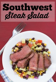 The best part of this southwestern steak salad is that each serving has just 455 calories. Awesome-sauce!