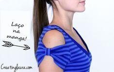 Veja como fazer uma customização bem bacana na manga curta da sua blusinha, deixando o ombro de fora e um lacinho estiloso na parte de baixo! - Veja mais em: http://www.vilamulher.com.br/artesanato/passo-a-passo/customize-a-manga-da-blusa-17-1-7886495-379.html?pinterest-mat
