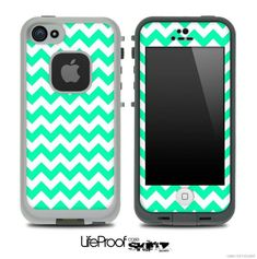 Trendy Green/White Chevron Skin for the iPhone 5 or 4/4s LifeProof Case #Iphone5Cases