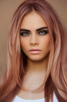 fall hair color for brunettes here is the complete list and description of latest and most popular Women Best Winter Hair Color Shades consisting of beautiful hair Rose Gold Hair Brunette, Dark Blonde Hair Color, Hair Color Shades, Hair Color Auburn, Auburn Hair, Cool Hair Color, Pink Hair, Hair Colour, White Hair
