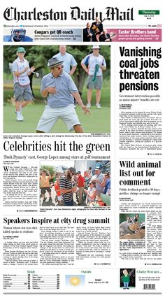 """A surge in overseas demand that has raised coal's outlook in the short run hasn't stemmed long-run job losses. Competition from non-union operators has led to less employer contributions to the main pension plan for union miners. Also, fans flocked to The Greenbrier Classic to see celebrities. """"Duck Dynasty"""" stars Jase Robertson and Justin Martin and comedian George Lopez were among the stars on hand. Read more at http://www.charlestondailymail.com/article/20140702/DM01/140709812/1420"""