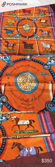 Hermes scarf- authentic!!! Hermes orange beautiful silk scarf Hermes Accessories Scarves & Wraps