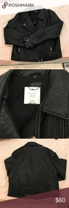 Top shop faux leather jacket With tags attached. No longer have the fur. But still super cute!!! No flaws. Topshop Jackets & Coats
