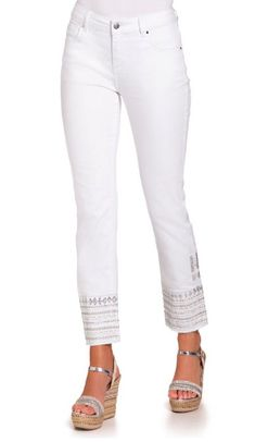 5a6436e7dfc3 Silver Embellished White Ankle Jean