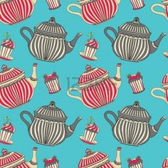 Vintage seamless pattern with cakes and teapots - vector Stock Vector