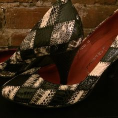"Jeffrey Campell Patchwork Pumps Worn twice! 3 1/2"" heel. Jeffrey Campbell Shoes Heels"