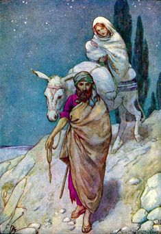 Mary and Joseph fleeing to Egypt with Jesus