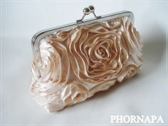 Made to order The Romantic Rosette Champagne Clutch by PHORNAPA, $40.00