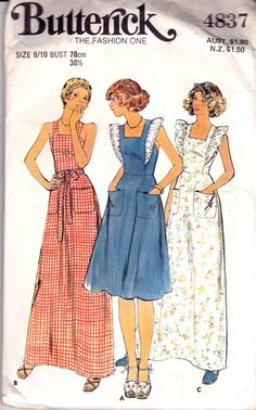 Pinafore Idea for MyraVtg 70 Butterick 4837 Jr Teen Apron Pinafore Dress Sewing Pattern Size 13 14 UNC Dress Sewing Patterns, Vintage Sewing Patterns, Sewing Ideas, Sewing Projects, Summer Dresses 2017, Sun Dresses, Apron Dress, Ruffle Apron, Vintage Outfits