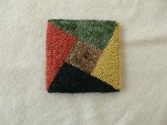 Hooked mug rug / coaster geometric by excitablegirl on Etsy, $12.95