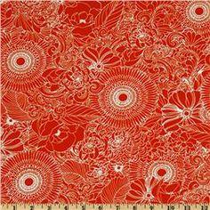 Essex Linen Blend La Femme Floral Nouveau Red $10.98