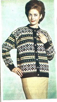 Koselig kofte NU 9/1964 Vintage Knitting, Hand Knitting, Norwegian Knitting, Cardigan Design, Vintage Sweaters, Knit Patterns, Vests, Scandinavian, Diva