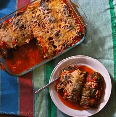 "Rainbow Chard ""Cannelloni"".  Substituted Chard for the Pasta. Low-Carb and Gluten Free"