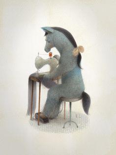 "There's no way Eyore's playing ""Pin the Tail on the Donkey""...Renata Liwska artist"