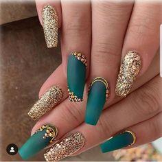 Nail Designs nail designs for fall nail designs for summer gel nail designs 2019 - Teal Nails, Aycrlic Nails, Cute Nails, Pretty Nails, Hair And Nails, Gold Gel Nails, Bling Nails, Nail Polishes, Perfect Nails