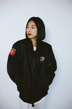 kore x gachi bomber 1million Dance Studio, Korean Girl, Pretty Girls, Hot Girls, Bomber Jacket, Temple, How To Wear, Jackets, Models