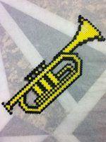 Trumpet perler beads by OtakuLuka on deviantart Pony Bead Patterns, Pearler Bead Patterns, Perler Patterns, Beading Patterns, Perler Bead Templates, Diy Perler Beads, Perler Bead Art, Pixel Art, Plastic Bead Crafts