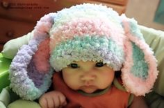 12 to 24 Months Bunny Hat Baby Beanie  Crochet Floppy by BabaMoon,