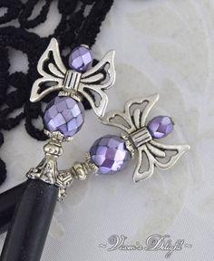 0ef7682e6 Purple butterfly hair sticks, hair accessories Hair Sticks, Czech Glass  Beads, Butterfly Hair