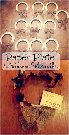 Paper Plate Autumn Wreaths with burlap bows. Our Sunday school kids glued or taped on the dry leaves and pinecones. Burlap Bows, Burlap Wreath, Sunday School Kids, Dry Leaf, Autumn Wreaths, Paper Plates, Pine Cones, Autumn Leaves, About Me Blog