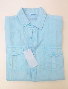 Cremieux Light Blue Heather Linen Short Sleeve Button Down Pocket ...