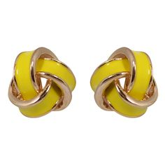 CHIC Yellow Love Knot Stud Clip On Earrings