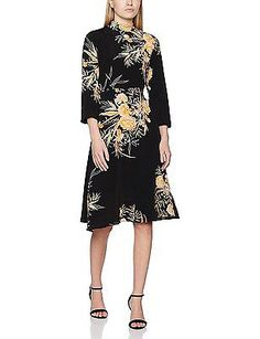 14, Black (Black Pattern), New Look Petite Women's Orson Floral Dress NEW