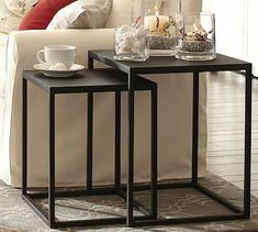 For beside your sofa, based on the nesting tables you already pinned but more to scale with your space. I love nesting tables because they're so versatile. Put a lamp on the larger table. Round End Tables, Small End Tables, Large Table, Square Side Table, Side Table Decor, Table Decor Living Room, Table Decorations, Black Side Table, Metal Side Table