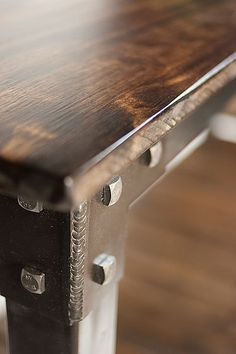 Handmade metal and wood table console table liquor/wine by JReal