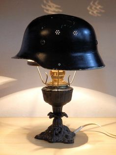 Vintage design German Aluminium Helmet table lamp light WWII banker style