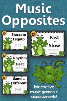 Music Opposites (Comparatives) Games. Your kindergarten and first grade classes will fall in love these interactive games that work with or without a Smartboard. Great activities to add to your lessons and Orff and Kodaly resources.