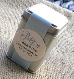custom listing for Deb - 50 A Baby is Brewing Tin Favor - Boy via Etsy