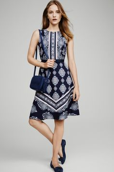 e5132cea093 We love a whimsical pattern -- arabesques and stripes define Ann Taylor's  Medallion Print dress