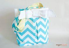 Aqua Blue Pleated Chevron Tote Bag with Bow by sugarrushcreative, $22.00