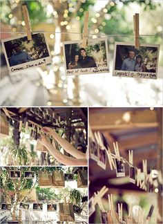 Polaroid camera inside paper bag for each couple. They take a picture of themselves to hang back up for bride and groom.