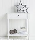 Cove Bay small hall table or lamp table Cottage Hallway, Cottage Living, Small Hall Table, White Console Table, Hall Furniture, Coat Stands, Lamp Table, White Cottage, Storage