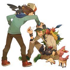 Touya and Natural Harmonia Gropius from Pokémon Pokemon Mew, Pokemon Comics, Pokemon Noir, Pokemon Ships, Pokemon Special, Art Memes, Anime Couples, Fan Art, Black Pokemon Trainer