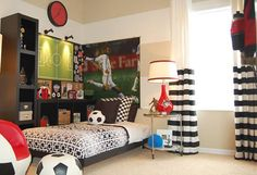 Elegant Austinu0027s Room Sports Themed Bedroom Design Ideas For Boys: The Soccer Ball  Of Sports Bedroom Ideas