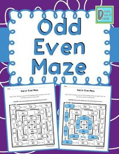 Odd and Even Maze Elementary School Library, Elementary Math, 2nd Grade Math, Anchor Charts, Task Cards, Math Centers, Maze, Social Studies, Worksheets