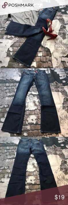 Guess size 26 Joey flare dark wash jeans Size 26 Joey flare Guess jeans. Some fraying on the back button leg otherwise in great used condition. Shown in pictures.  Inseam approximately 33. Rise approximately 6 1/4. Flat lay waist approximately 14 3/4.       (555) Guess Jeans Flare & Wide Leg