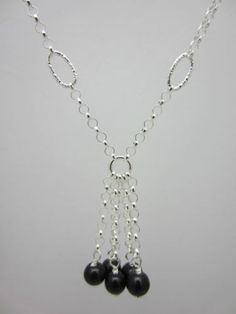 Sterling Silver Necklace 925 Onyx Bead Drop Design Beaded Gift Box British Made