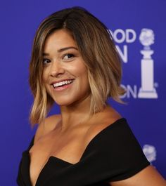 Short Hairstyles Lookbook: Gina Rodriguez wearing Graduated Bob (5 of 20). Gina Rodriguez framed her face with this trendy graduated bob for the HFPA Grants Banquet.