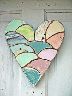mosaic heart, wooden heart, blue green, reclaim wooden, wood pink, pastel colors, pastel heart, blues, reclaimed wood heart