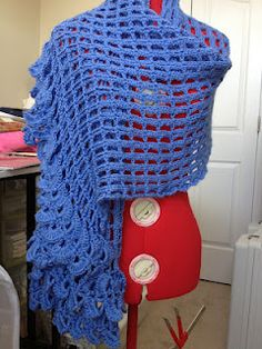 """Geisha shawl I made from: """"Wrapped in Crochet: Scarves, Wraps & Shawls""""  by Kristin Omdahl"""